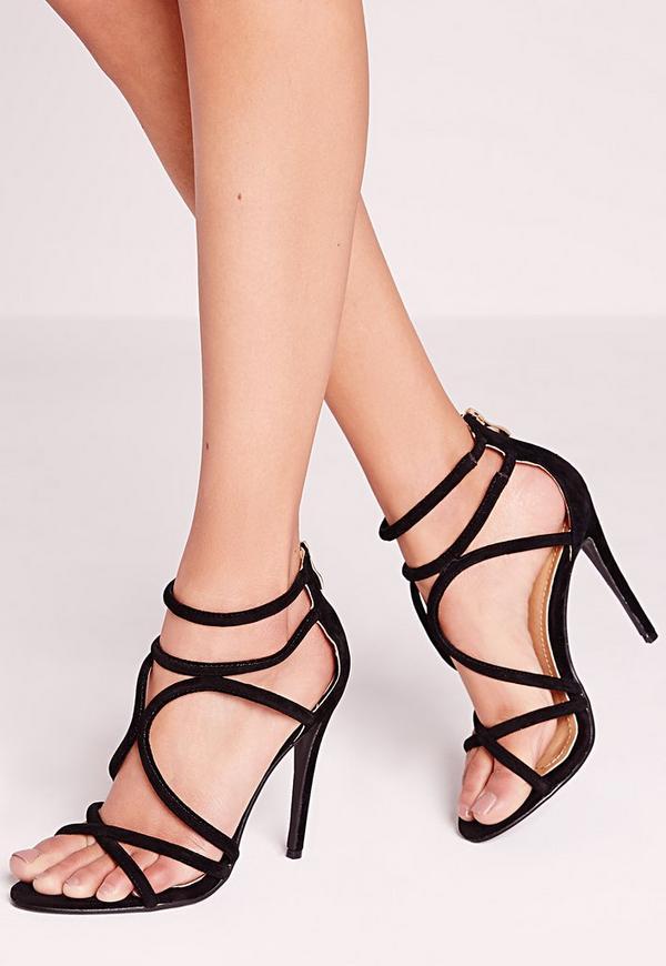 Curved Strap Heeled Sandals Black