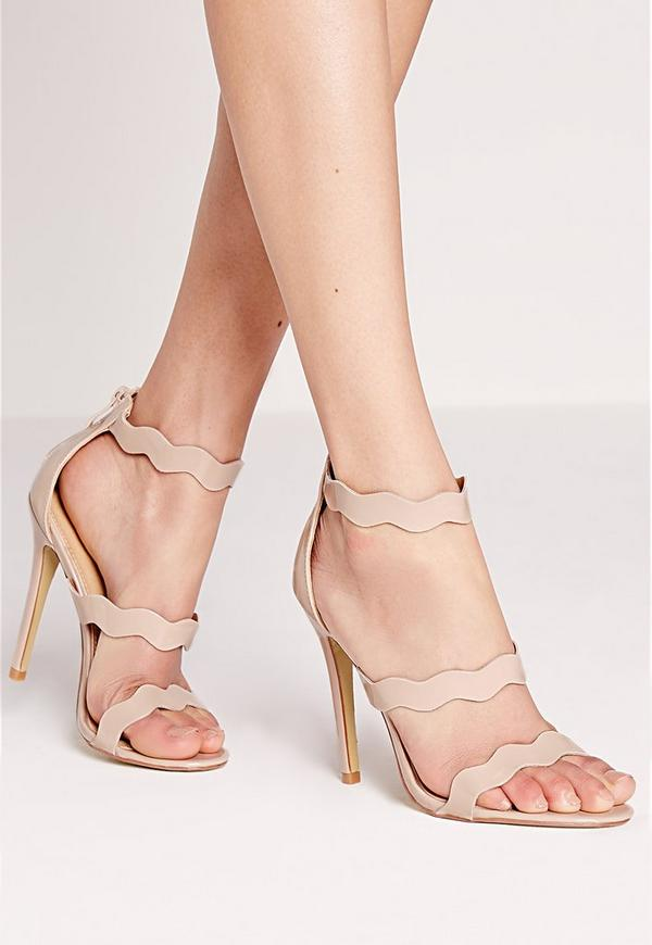 Wave Three Strap Barely There Sandal Nude