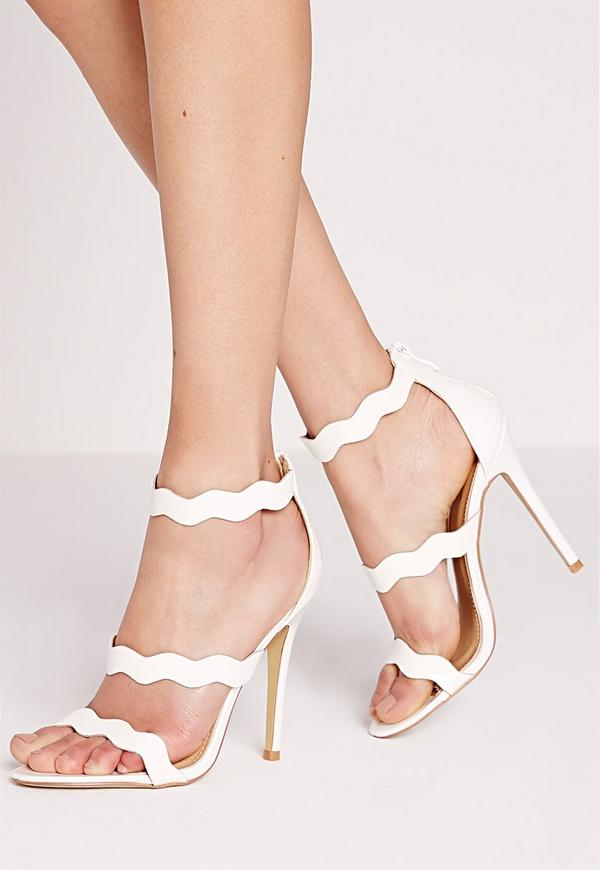 Wave Three Strap Barely There Sandal White Missguided
