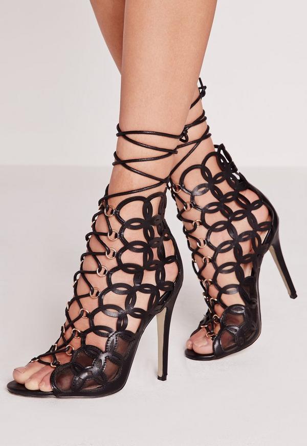 Circular Laser Cut Lace Up Heeled Sandal Black