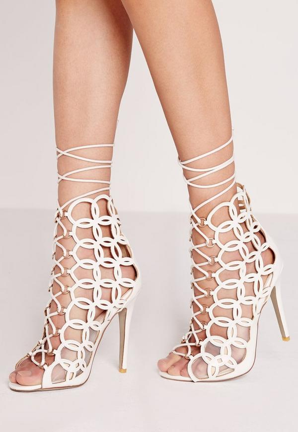 Circular Laser Cut Lace Up Heeled Sandals White