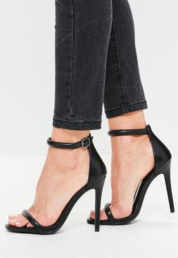 Black Rounded Strap Barely There Sandals
