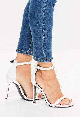White Croc Effect Rounded Strap Barely There Heels