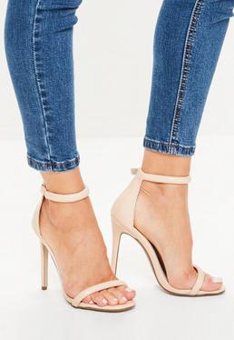 Nude Patent Rounded Strap Barely There Heels