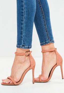 Sandales roses à talon et brides arrondies