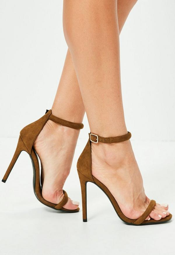 Green Rounded Strap Barely There Heels