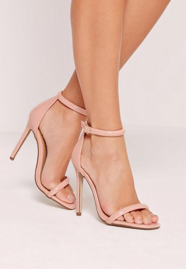 Pink Patent Rounded Strap Barely There Heels