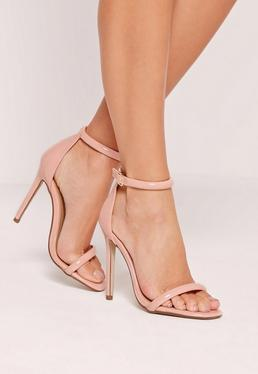 Pink Rounded Strap Patent Barely There Patent Sandals
