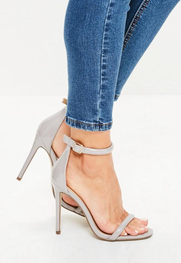 Grey Patent Rounded Strap Barely There Heels
