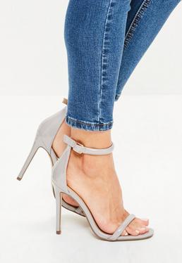 Sandales à talon grises vernies