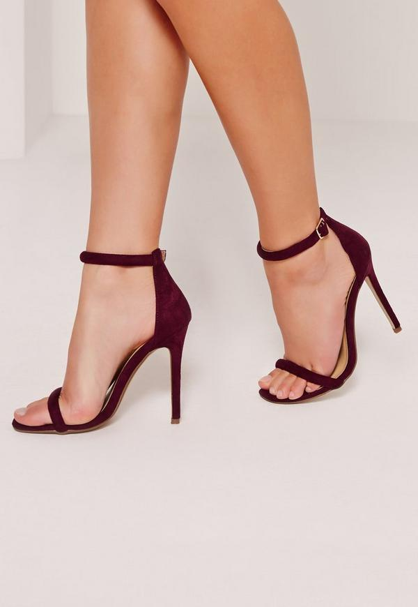 Rounded Strap Barely There Heeled Sandals Burgundy