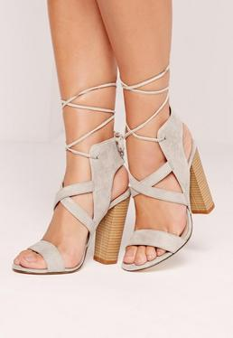 Cross Strap Lace Back Block Heel Sandals Grey