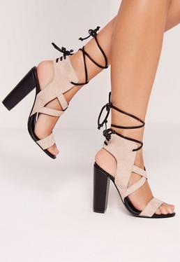 Cross Strap Lace Back Block Heeled Sandals Nude