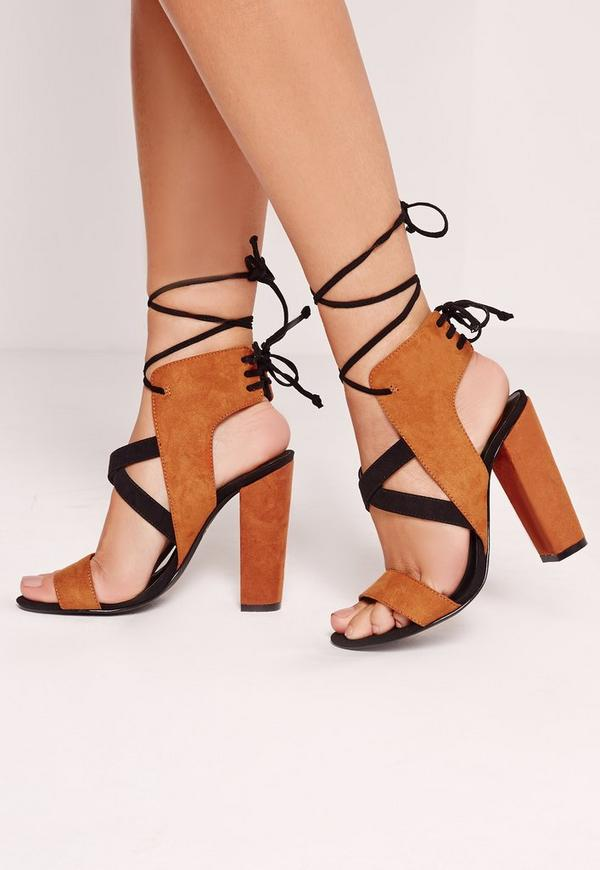 Cross Strap Lace Back Block Heeled Sandals Brown