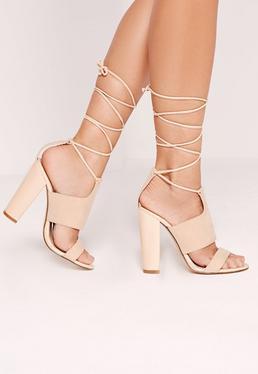 Tie Ankle Strap Block Heels Nude