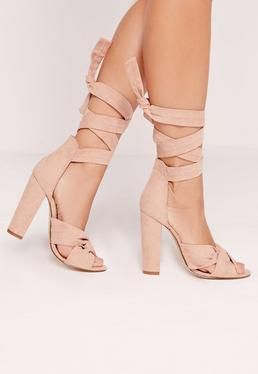 Twist Strap Block Heeled Sandals Pink