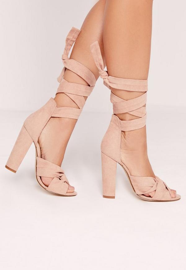 Twist Strap Block Heeled Sandals Pink