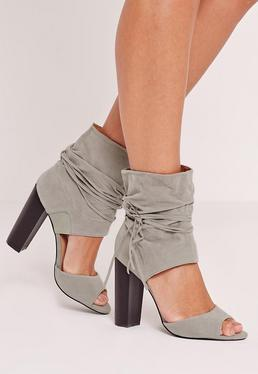 Block Heel Ankle Cuff Sandals Grey