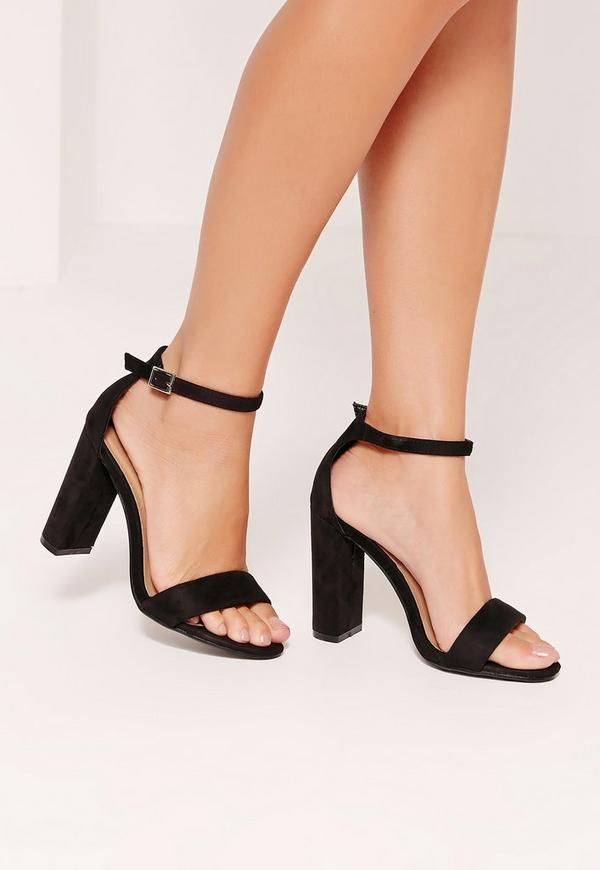 Thick Strap Block Heel Barely There Sandals Black