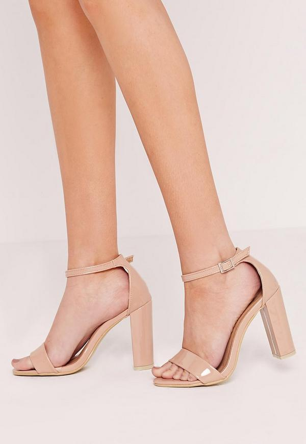 Block heel thick strap barely there sandals nude