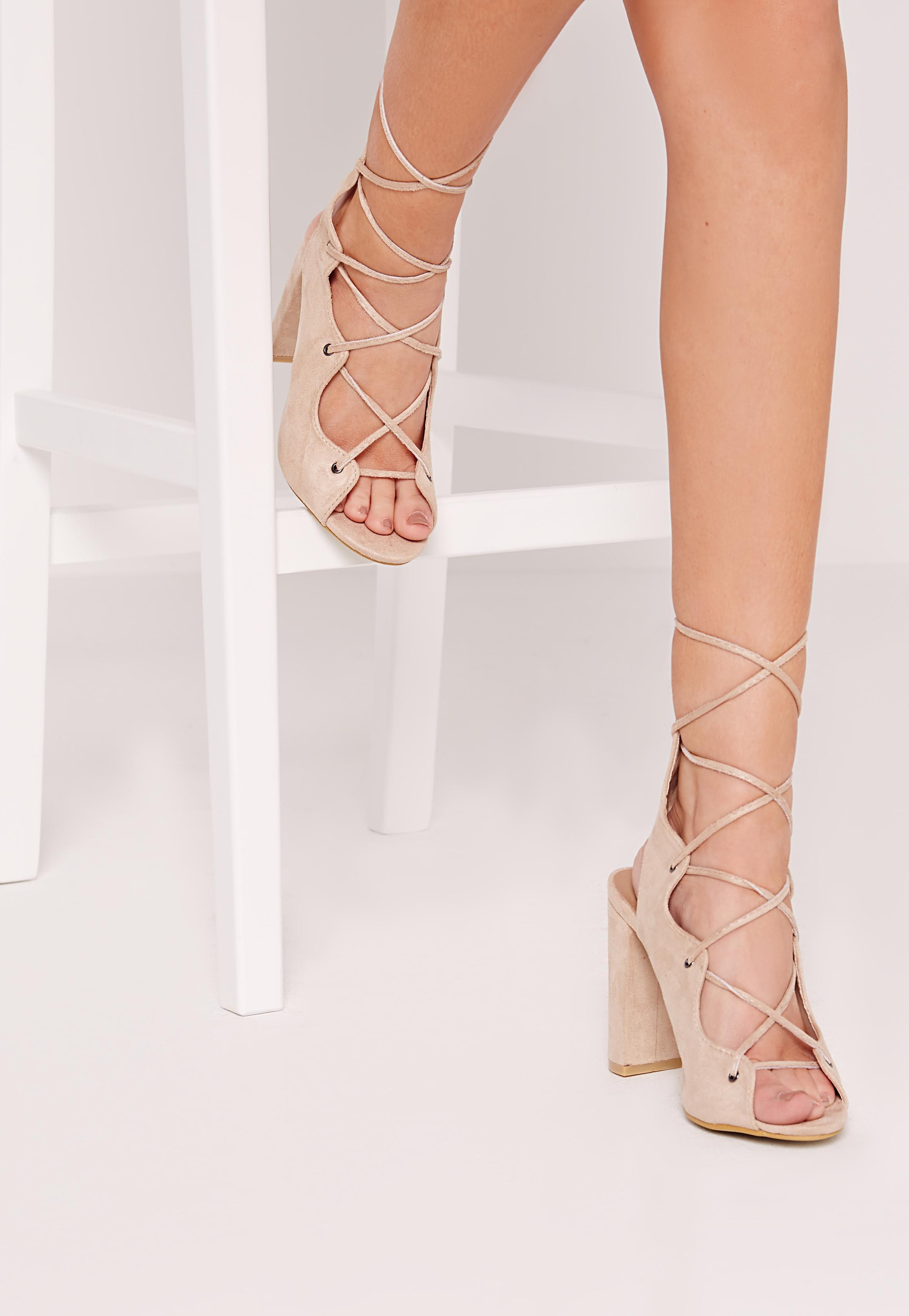Curved Edge Lace Up Block Heeled Sandals Nude