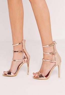 Rose Gold Buckle Three Strap Barely There Heels
