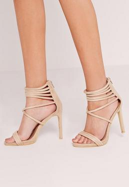 Strappy Cuff Heeled Sandals Nude