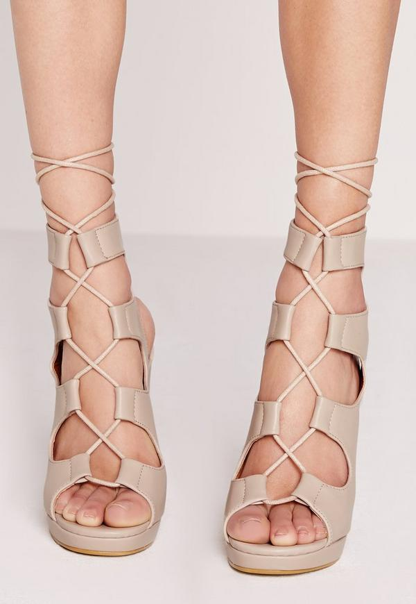 Lace up block heel gladiator nude | Missguided