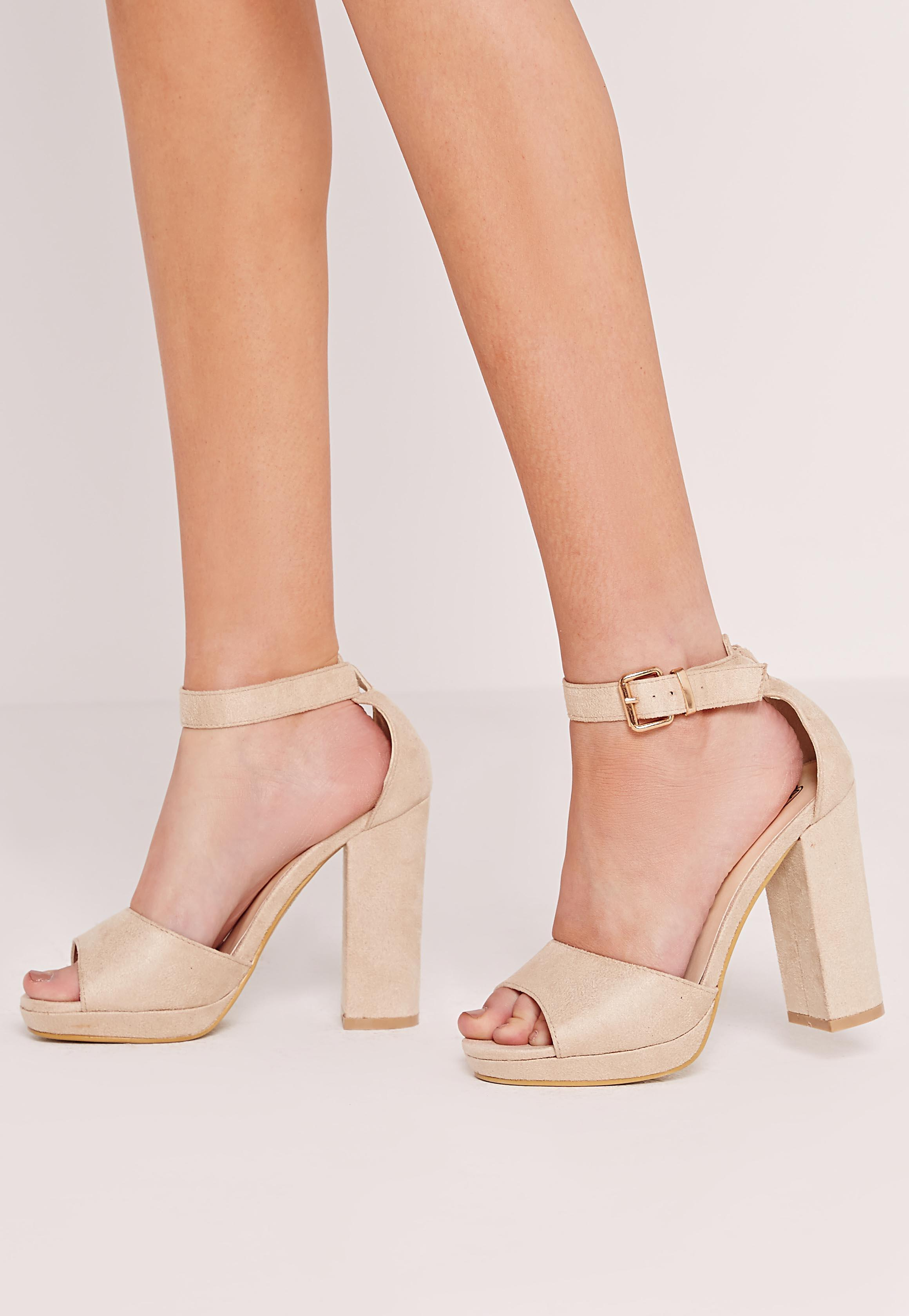 Block Heeled Barely There Sandal - Nude Missguided YGLxsdkd