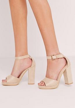 Sandales nude fines à talon carré