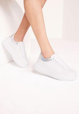 Silver Contrast Tab Flatform Sneakers