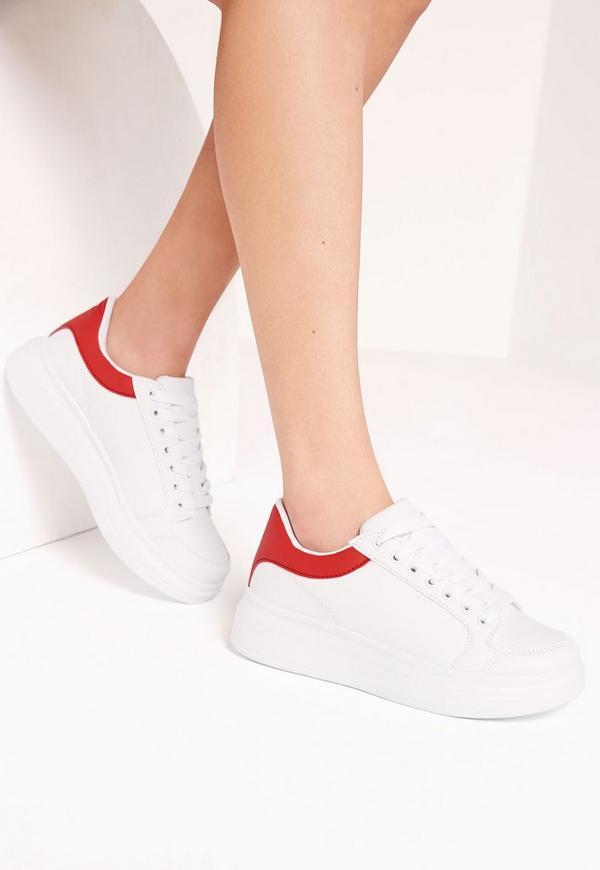 Red Tab Flatform Trainer White
