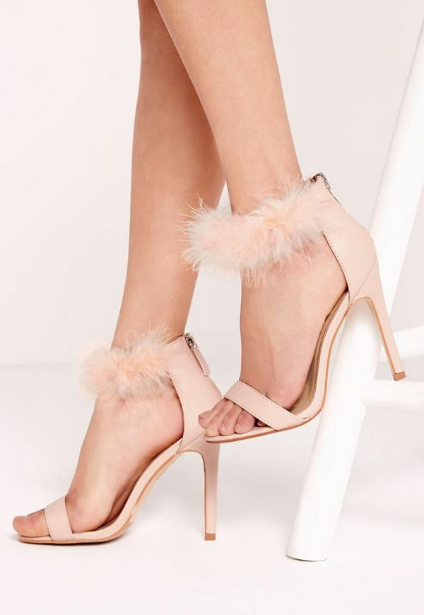 Feather Ankle Strap Barely There Nude