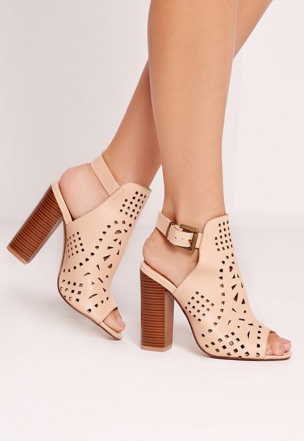 Laser Cut Block Heel Peep Toe Sandal Nude