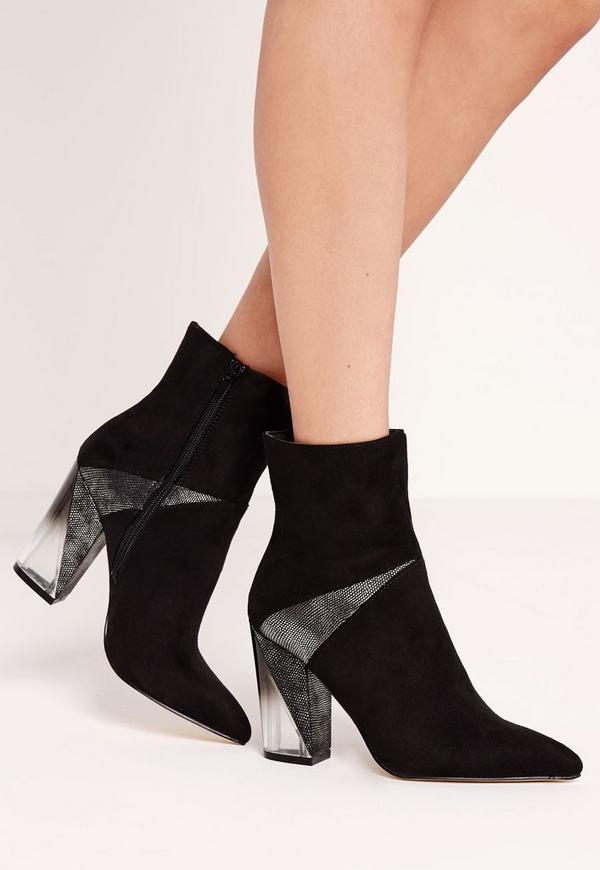 Black Faux Suede Clear Asymmetric Heel Ankle Boots