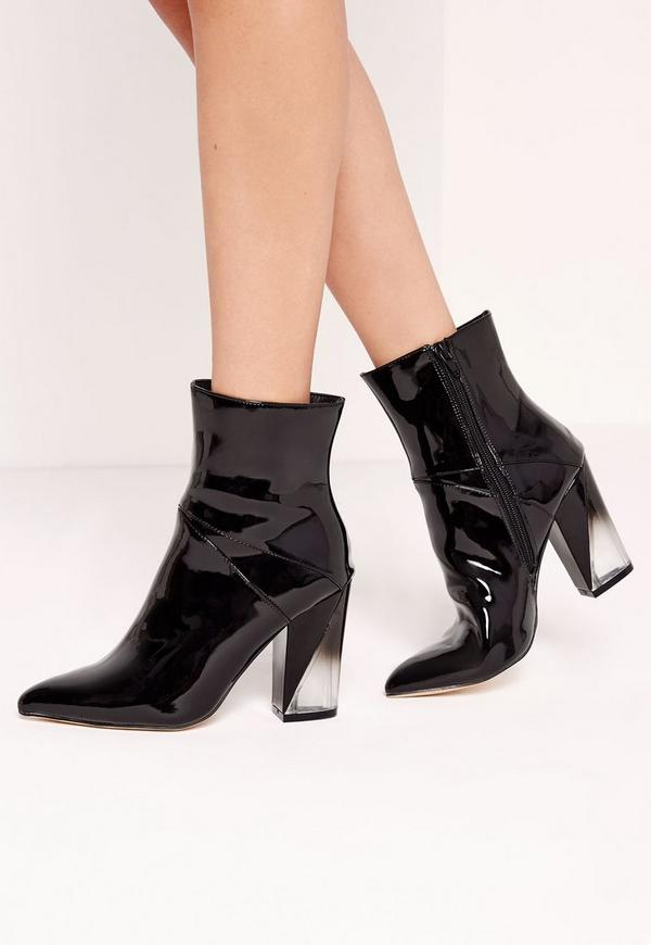 Perspex Asymmetric Heeled Ankle Boots Black