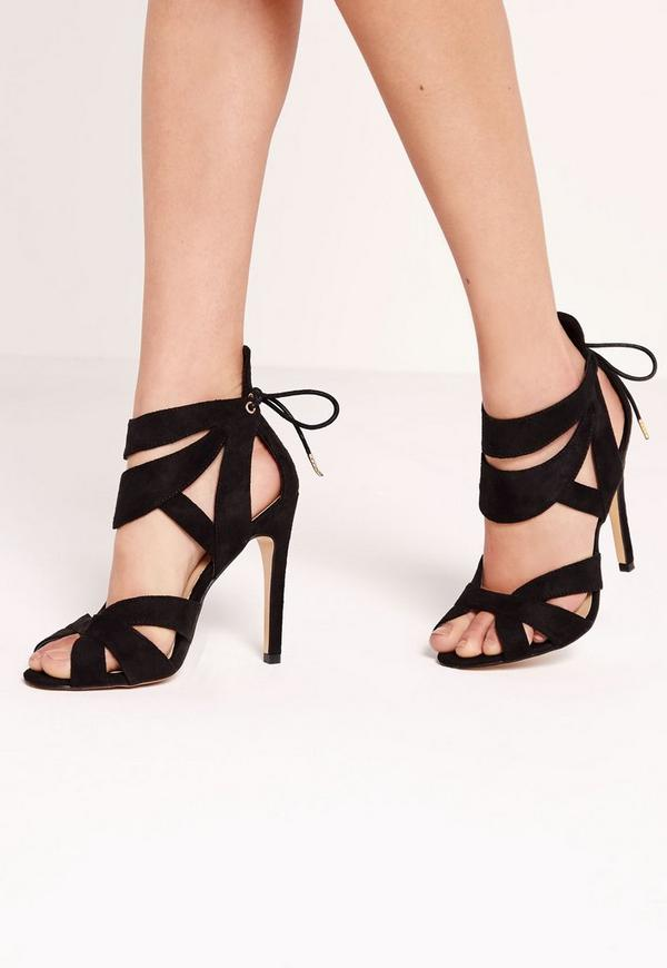 Curved Strappy Heeled Sandals Black