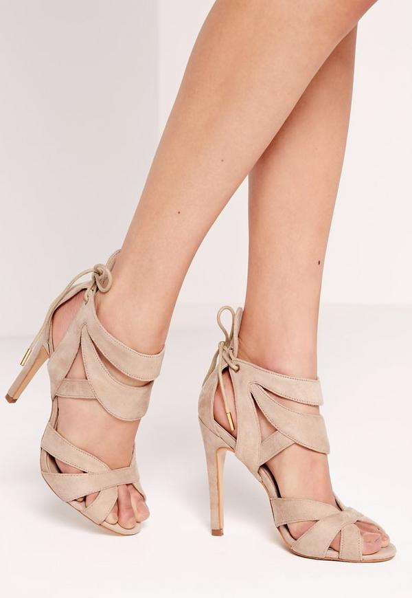 Curved Strappy Heeled Sandals Nude