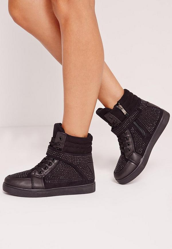 Hidden Wedge Embellished Trainers Black