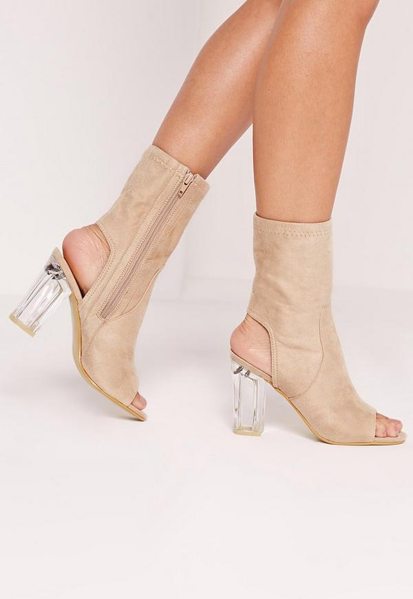 Faux Suede Perspex Peep Toe Heeled Boots Nude