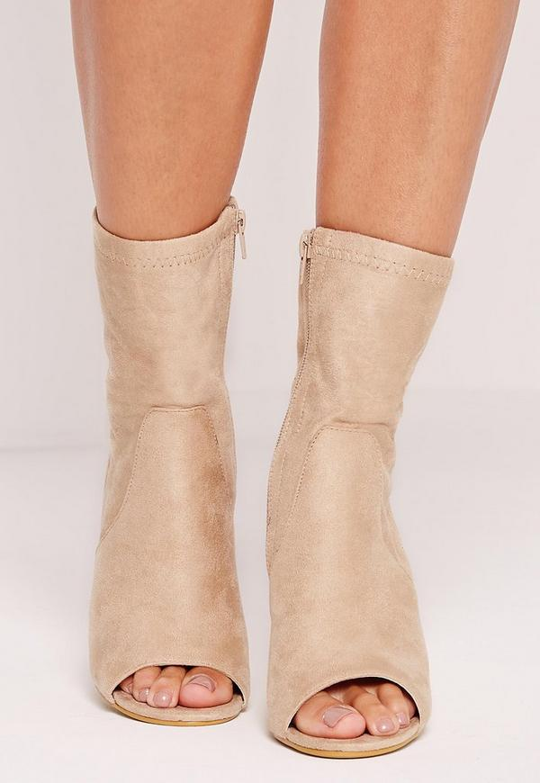 d3598a85f2c4 Faux Suede Perspex Peep Toe Heeled Boots Nude