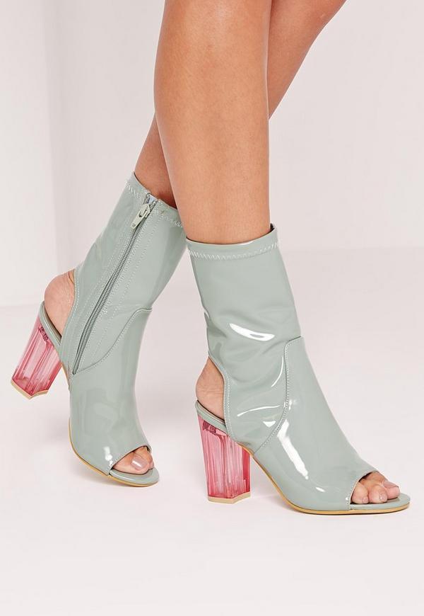 Peep Toe block Heel Perspex Boot Grey