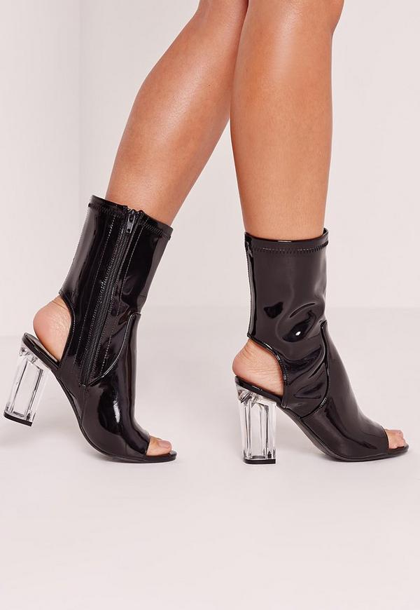 Peep Toe Perspex Block Heel Ankle Boot Black Patent