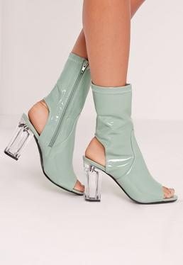 Patent Peep Toe Perspex Block Heel Ankle Boots Green