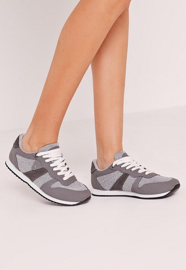 Metallic Reptile Lace Up Trainers Grey