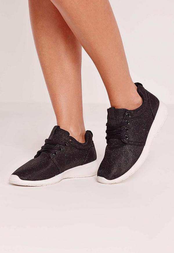 Metallic Textile Lace Up Trainer Black
