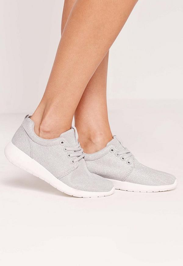 Metallic Textile Lace Up Trainer Grey