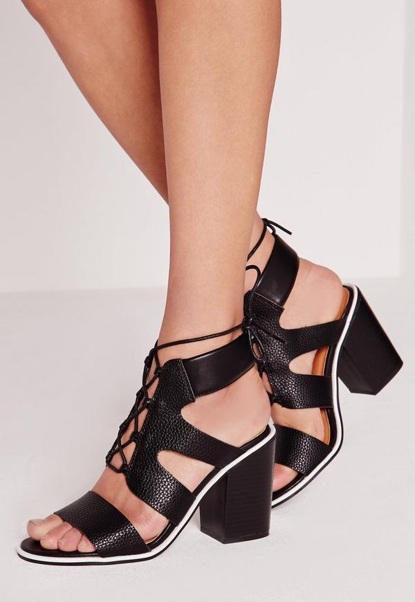 Contrasting Edge Block Heeled Sandals Black