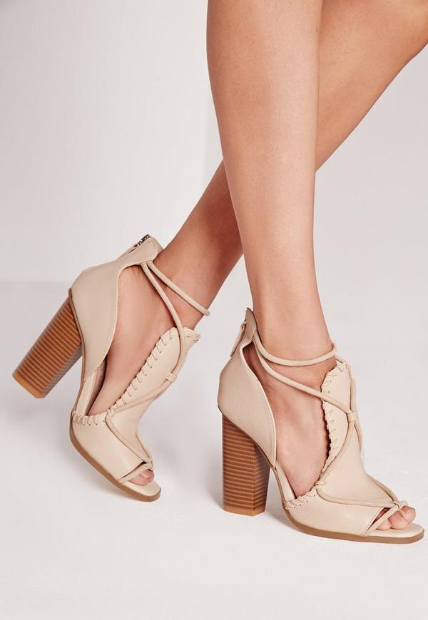 Contrast Rope Block Heeled Sandals Nude