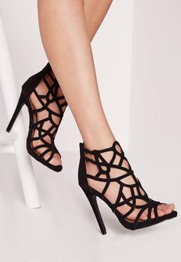 Lazer Cut Heeled Gladiator Sandals Black